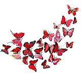 Pingxia 12 Pezzi 3D Farfalle Adesivi Murali DIY Arte Adesivi da Parete Artigianato Decorazione Domestica - Rosso