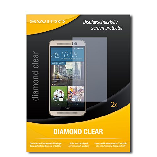 SWIDO 2 x Bildschirmschutzfolie HTC One M9s Schutzfolie Folie DiamondClear unsichtbar
