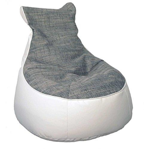 lifestyle4living Sitzsack, Sitzkissen, Bodenkissen, Relaxkissen, Relaxkissen, Kunstleder weiß, Webstoff grau, Füllung EPS-Perlen