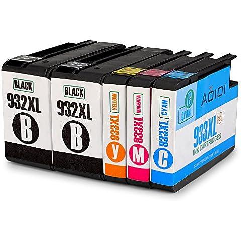 Aoioi Reemplazo para HP 932XL 933XL Cartuchos de tinta (2 Negro 1 Cian 1 Magenta 1 Amarillo) Alta Capacidad Compatible con HP Officejet 6600 6100 6700 7110 7610 Impresora