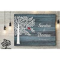 70x50 cm, Blau Gästebuch, Hochzeitsbaum, Wedding Tree, Rustikales Gästebuch, Leinwanddruck - Baum, Leinwand, Keilrahmen und Holz Motiv