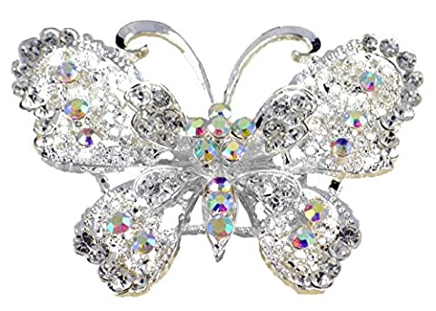 Large silver white filigree butterfly CZ diamante Rhinestone crystal brooch pin