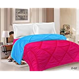 Standard ReversibleAC Comforter, AC Quilt | Blanket (Double Bed, Sky Blue And Red)