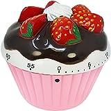 COM-FOUR® Kurzzeitwecker im hübschen Cupcake Design, bis 60 Minuten, Eieruhr, Timer aus Kunststoff pink ca. 7 x 7 x 4 cm (01 Stück - pink)