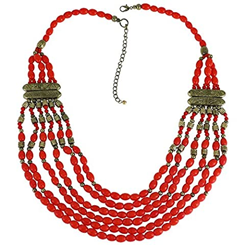 Déclaration Bib Coral Rouge Multicolore Collier Layered Indian Fashion Jewellery