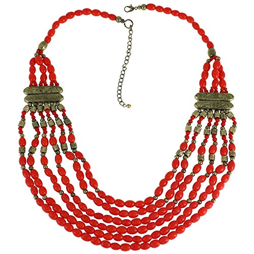 Koralle Rot Multi Layered Lätzchen Anweisung Halskette Indischer Modeschmuck