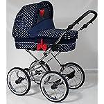 Wunderschöner Retro Kinderwagen Babywagen 3in1 (K111) dunkel blau-weiße Punkte