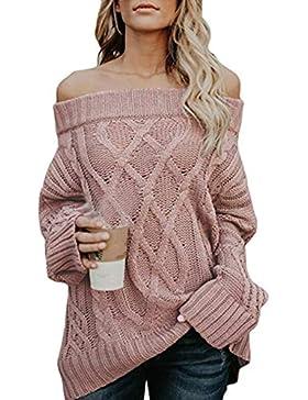 JackenLOVE Otoño y Invierno Mujeres Largo Tejer Jerséis Casual Sweater Prendas de Punto Jumpers Blusa Remata Moda...