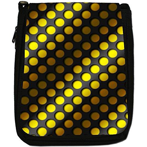 Design Arte astratta 3D, colore: nero, Borsa a spalla in tela da uomo, taglia media Yellow Abstract 3D Wave