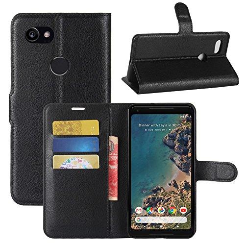 Google Pixel XL 2 Hülle, HualuBro [Standfunktion] [All Around Schutz] Premium PU Leder Leather Wallet Handy Tasche Schutzhülle Case Flip Cover mit Karten Slot für Google Pixel 2 XL 2017 Smartphone (Sc