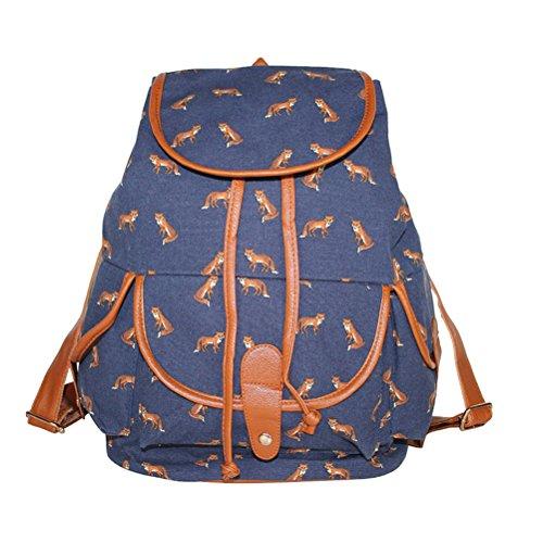 Damen Mädchen Casual Vintage Canvas Segeltuch Taschen Reisetaschen Schultaschen Rucksack Beige Blau Fuchs