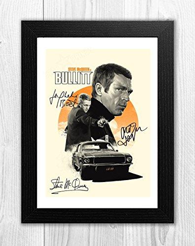 Engravia Digital Bullitt Reproduction Signed Film Poster Starring Steve McQueen A4 Print(Black Frame)