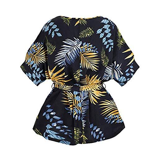 (CAOQAO Damen Lose Mode BeiläUfig Outdoor Kurze ÄRmel Leinen Self Tie Kurzarm Lady Bluse Bluse Tops T-Shirt(Marine,M))