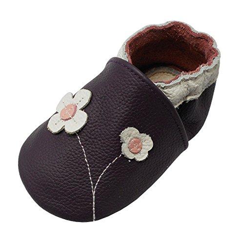 Yalion Baby Mädchen Weiches Leder Lederpuschen Kleinkinder Krabbelschuhe mit Süßen Blumen Lila,24-36 Monate