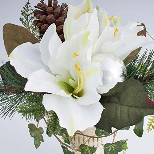 artplants Amaryllis-Arrangement im Keramiktopf mit Kugel, weiß, Ø 30 cm, 35 cm – Kunstblume/Dekoblume
