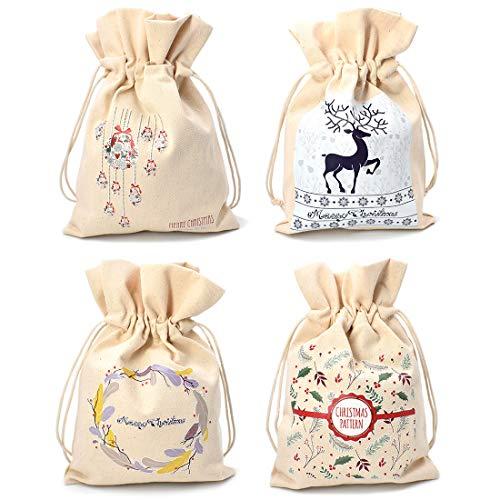makstore 4er Set Weihnachten Geschenk-Beutel Jutebeutel Naturfarbe Stoffbeutel Geschenksäckchen für Hochzeit Party Taufe Tisch Deko 23,5x16cm