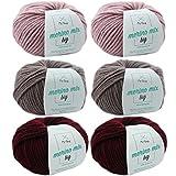 Merinowolle stricken * Wollpaket Dornröschen L * 6 Knäuel bunte Wolle Merino Mix big - dicke Wolle -Woll Set -Merinowolle -Nadelstärke 6-7mm -Lauflänge 50g/75m + GRATIS MyOma Label - Woll Paket