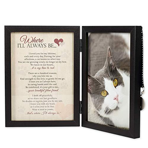 Where I 'll Always Be Cat Memorial 5x 7Bilderrahmen mit PET Tag (Pet-bilderrahmen 5x7)