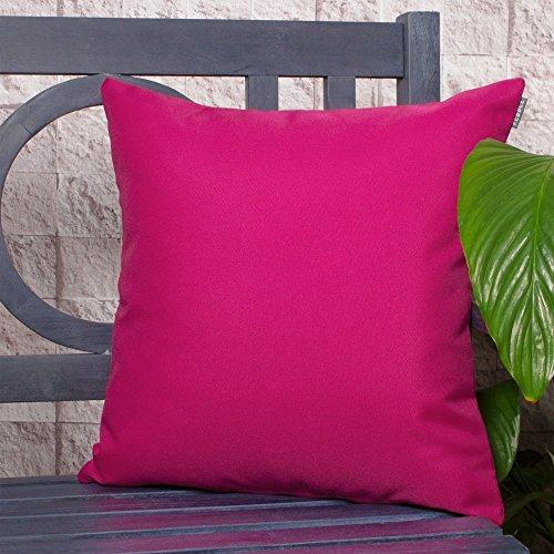 Gartenkissen Sitzpolster – 2 Stück, 43cm x 43cm – Rosa - Wasserabweisend mit einer Textilfaserfüllung – Dekoratives Zierkissen für Gartenbänke, Stühle oder Sofas