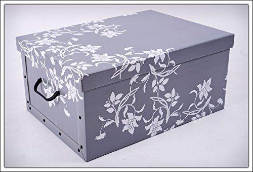 3er Set Aufbewahrungsbox in 3 Farben (weiß, schwarz und grau) mit jeweils 45 Liter Inhalt - Blumenmuster im Barock Stil - 4