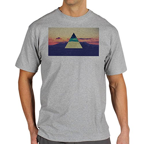 Illuminati Triangle Art Majestic Nature Deep Night Background Herren T-Shirt Grau