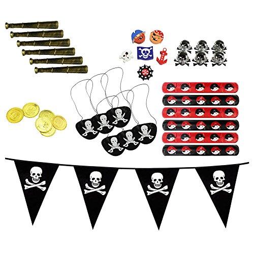 COM-FOUR® Piraten-Give Aways-Set für Geburtstagsfeier bis zu 6 Kinder Mitgebsel - Fernrohr, Schatztruhenmünzen, Radierer, Ringe, Schnapparmband, Augenklappe, Wimpelkette (37-teilig - Give Away) (Kunststoff-piraten-hut Schwarzes)