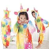 Kinder Jungen Mädchen Herren Einhorn Rosa Weiß Blau Regenbogen Star Fantasy Onesie Loungewear Kostüm Outfit Cosplay Rollenspiel (Multi Color mit Sternen, Alter 6-8)