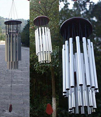Longtn Grand carillon 27 tubes en métal argenté Tube Église Home Garden Décorations à suspendre extérieur Bells Carillon éolien cloches