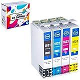 Hehua 16XL Compatible Cartouches d'encre pour Epson 16 16XL Remplacement pour Epson Workpource WF-2630 WF-2750 WF-2530 WF-2510 WF-2520 WF-2650 WF-2010 WF-2660 Imprimante(1B,1C,1M,1Y)