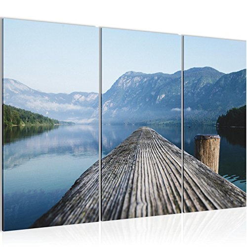 Bild 120 x 80 cm - Steg Bilder- Vlies Leinwand - Deko für Wohnzimmer -Wandbild - XXL 3 Teilig Teile - leichtes Aufhängen- 806031a