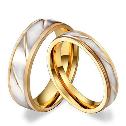 HIJONES Edelstahl Schmuck 4mm Gold Und Silber Ring Für Frauen Verlobungsringe Wedding Band Größe 57 (Moderne Rost 4 Licht)
