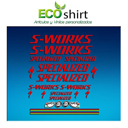 Ecoshirt 4P-3VUY-J4IW Sticker Stickers S Works Specialized Aufkleber Decals Autocollants Adesivi R84, Rot