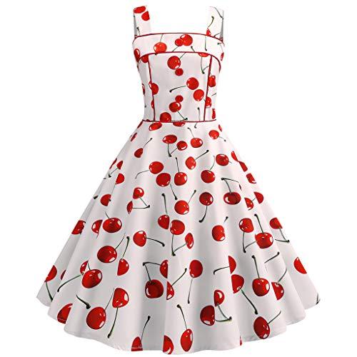 FRAUIT Damen Vintage 50er Jahre Kleid Armellose Cocktailkleid Riemchen Druck Abend Party Prom Swing Dress Kleider Spitzenkleid Knielang Rockabilly Kleid Kirsch-Erdbeer-Print-Taillen-Kleid (Damen 50er Jahre Pullover)