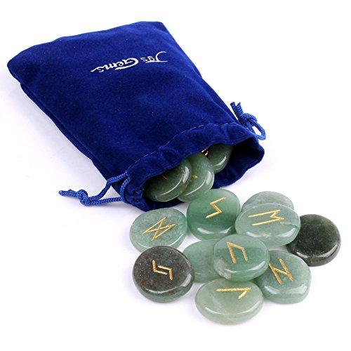 Rune Reiki naturale per i Chakra, con pietre in cristallo, per incisione di lettere, Pagan, Wiccan Green Aventurine
