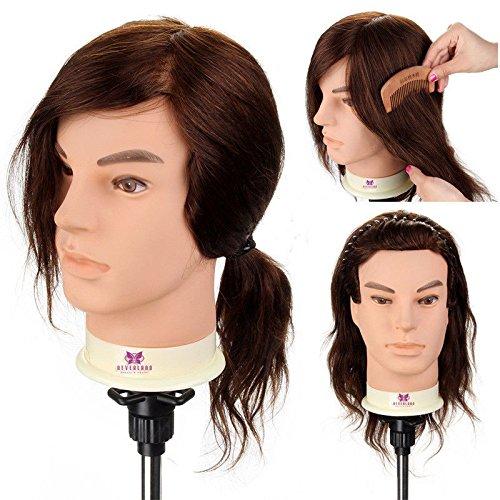 Neverland Beauty 30 cm Homme Tête à coiffurer Formation Mannequin Tete d'exercise a coiffer 90% Vrais Cheveux + Titulaire #4