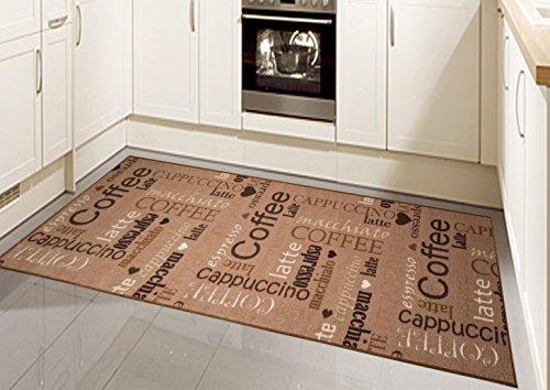 Teppich Modern Flachgewebe Gel Läufer Küchenteppich Küchenläufer Braun Beige Schwarz Creme mit Schriftzug Coffee Cappuccino Espresso Macchiato Größe 67x180 cm