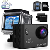 4K WIFI Sport Action Kamera, SOOCOO UHD Wasserdicht Sport Video Kamera 20MP 170° Weitwinkel 2.0 Zoll LCD Bildschirm/2.4G Fernbedienung Kontrolle/32GB Micro SD Karte/2 Wiederaufladbare batterien (Schwarz)