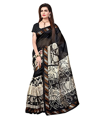 Saree (Varanga Women\'s Black Cotton Silk Saree KF-BGPSR115)