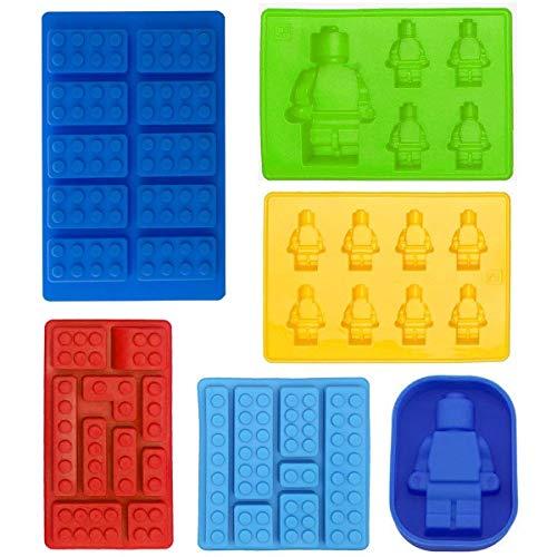 Roboter-Eiswürfelschale Silikonform, Süßigkeitenformen, Schokoladenformen, für Kinderparty und Minifiguren zum Backen von Bausteinen, Satz mit 6 Stück (Candy Lego Silikon Molds)