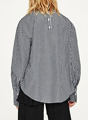 ACHICGIRL Women's V Neck Long Sleeve Plaid Pullover Blouse Black&white