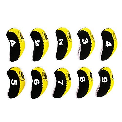 Cusfull 10pcs kit de Couvre-Fers de Golf avec Numéro, Housse Imperméable, Etui Semi-Transparent de Production Adapté pourTtitleist, Callaway, Ping, Taylormade, Cobra, Nike, M1, AP2, PXG, etc (Jaune)