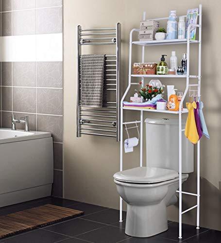 *Bayli Toilettenregal ohne Bohren mit 3 Ablagen | Höhe 158cm | Badezimmerregal aus Eisen | Waschmaschinenregal | platzsparendes Allzweck Regal in Farbe Weiß | WC Aufbewahrung |*