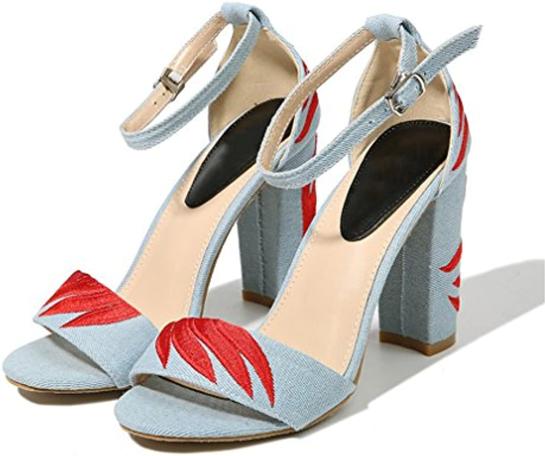 cdbcebe903107f Women Women Women High Heels Sandals Embroidered Denim Sandal Summer  Flowers Pumps Heel Shoes B07C1KP8BW Parent 324e28