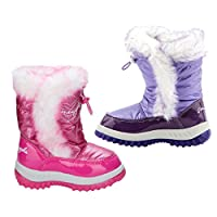 Girls Boots Snow Kids Casual Slip on Thermal Fur Lined Winter Rain Shoes