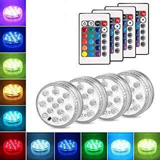Danolt 4Pcs LED Unterwasser Licht mit Fernbedienung 3 x AAA-Batterien Farbwechsel Unterwasserlicht Zubehör für Vasenbasis, Whirlpool, Aquarium, Teich, Pool, Garten, Zuhause (Neues Upgrade 13 LED)