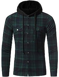 Cebbay Liquidación Camisa a Cuadros de los Hombres Bolsillo con Capucha de Manga Larga para el otoño y el Invierno Sudadera con Capucha de los Hombres del suéter de los