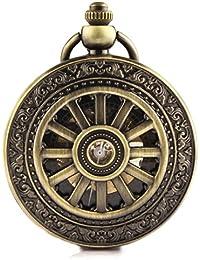 Alienwork Retro Reloj de bolsillo mecánico esqueleto remonte grabado Metal negro bronce marrón W914-03