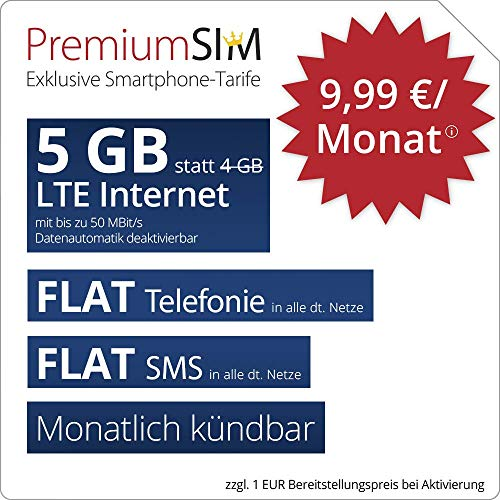 PremiumSIM LTE M Allnet Flat - monatlich kündbar (FLAT Internet 5 GB LTE mit max. 50 MBit/s mit deaktivierbarer Datenautomatik, FLAT Telefonie, FLAT SMS und EU-Ausland, 9,99 Euro/Monat)