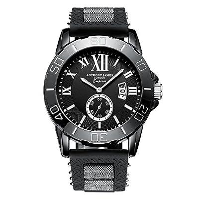 Reloj pulsera Deportivo Emperador Anthony James para hombres, edición limitada con garantía de por vida, caja metálica negra y pulsera de goma duradera