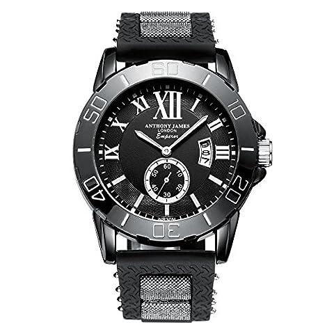 Anthony James Limited Edition Emperor Herren Sport Armbanduhr mit lebenslangen Garantie, Black Metal Gehäuse und Durable Gummi Handgelenk (Chronograph Metal-band)